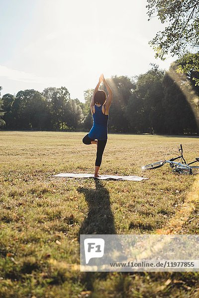 Mature woman in park  standing on one leg  in yoga position  rear view