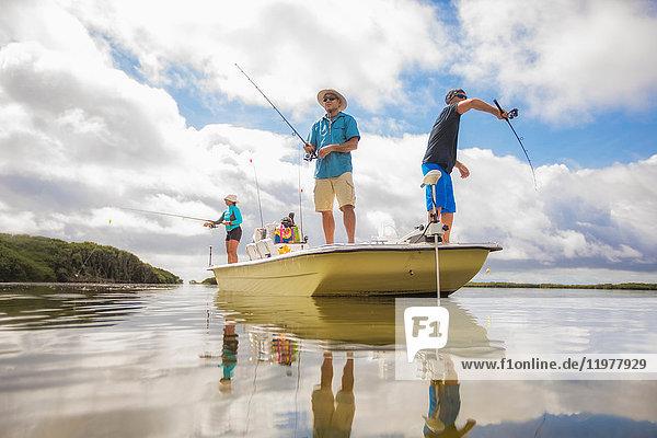 Männer beim Fischen im Golf von Mexiko  Homosassa  Florida  USA