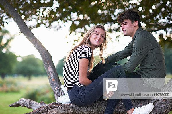 Porträt eines jungen Paares auf einem Ast im Feld sitzend