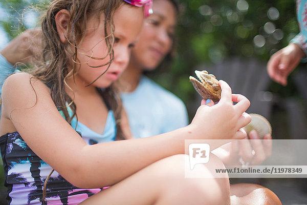 Mädchen untersucht Jakobsmuschel