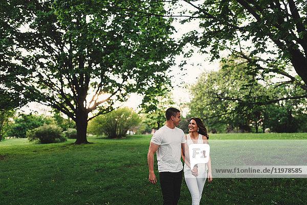 Romantisches junges Paar schlendert im Park und hält Händchen