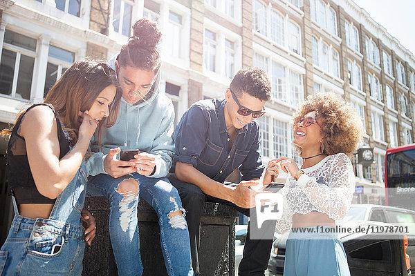 Vier junge Freunde im Freien  die sich ein Smartphone anschauen