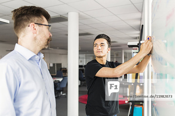 Colleagues standing next to whiteboard in office