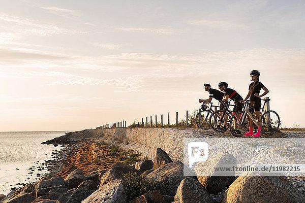 Three cyclists looking at view Three cyclists looking at view
