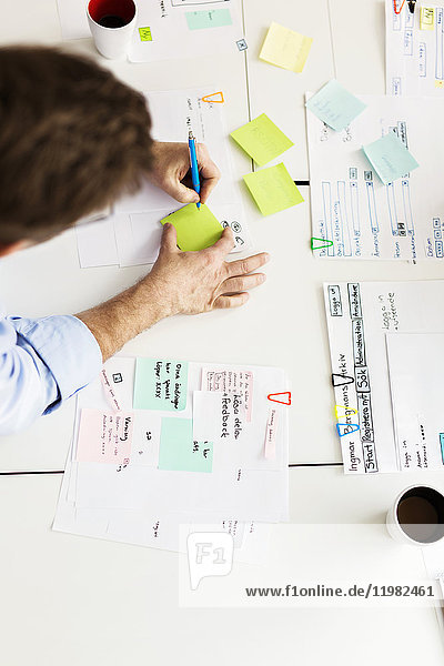 Man using adhesive notes during business meeting