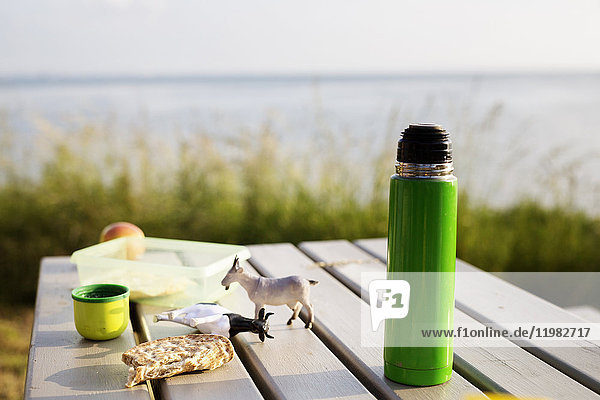 Insulated drink container and toys on picnic table