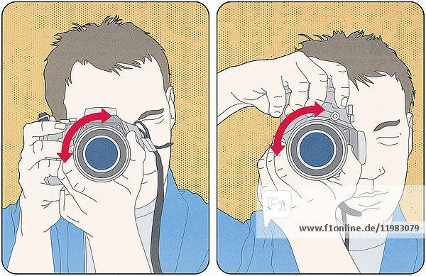 Mann demonstriert den Gebrauch eines Fotoapparats für Horizontal- und Vertikalaufnahmen