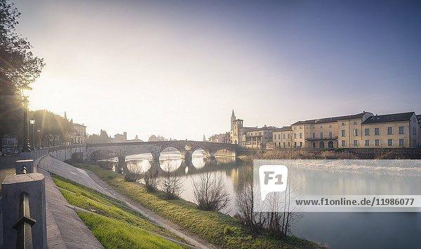 Verona  Veneto  Italy. View of Ponte Pietra in the morning.