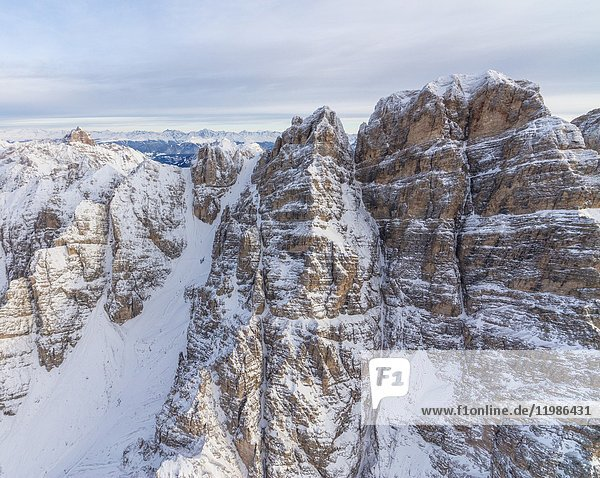 Aerial view of the snowy peaks of Monte Cristallo Cortina D'Ampezzo Dolomites Province of Belluno Veneto Italy Europe.