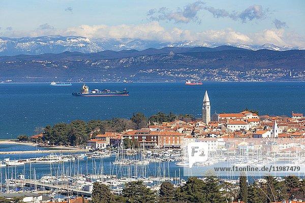 Europe  Slovenia  Istria. High angle view of the bay and marina of Izola  Slovenian Littoral.