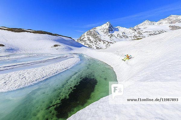 Clear water during the spring thaw  Bernina Pass  St Moritz  canton of Graubünden  Upper Engadine  Switzerland  Europe.