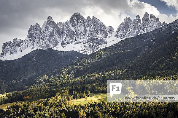 Odle mountain at sunset  Funes Valley  South Tyrol  Italy.