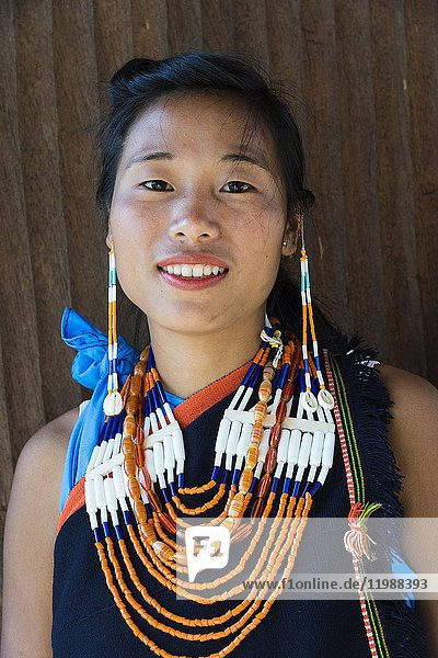 Naga tribal woman in traditional clothing  Kisima Nagaland Hornbill festival  Kohima  Nagaland  India.