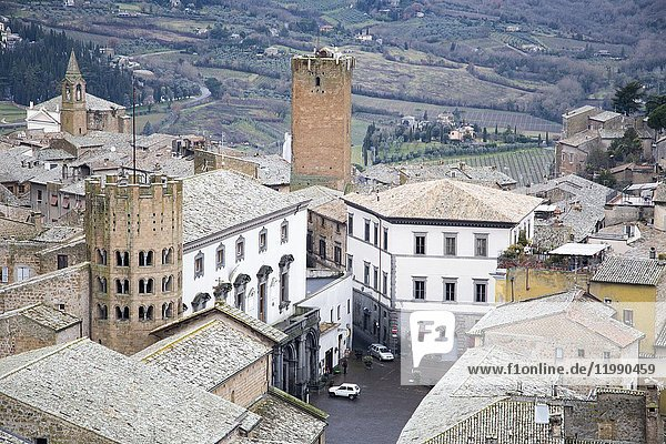 Orvieto medieval town panoramic aerial view from the top of Moro tower in Umbria  Italy  Europe.