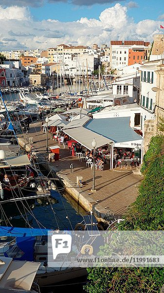 Partial view of the harbour of Ciutadella  Menorca's city  Balearic islands  Spain  Europe.
