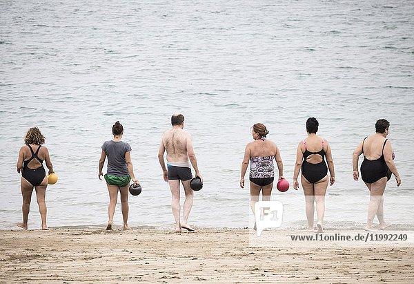 Water aerobics keep fit class on Las Canteras beach. Las Palmas  Gran Canaria  Canary Islands  Spain.