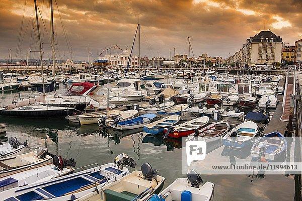 Puerto Chico marina port at sunset. Santander  Cantabrian Sea  Cantabria  Spain  Europe.