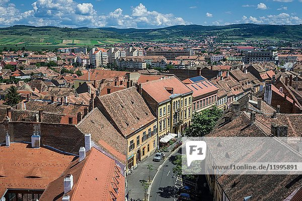 Aerial view from Council Tower on Avram Iancu street with Weidner House and Muller House buildings in Historic Center of Sibiu city  Romania.