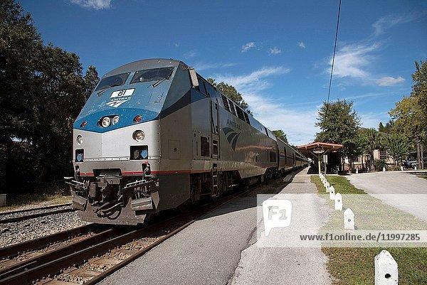 DeLand Florida USA  Passenger train at Deland Station Florida heading to New York USA.