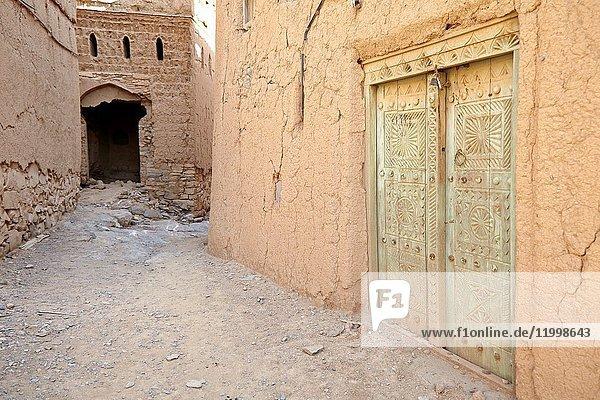 Door. Architecture in the historic town of Al Hamra  Oman.