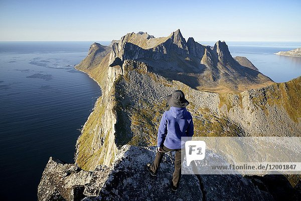 Norway  Troms County  north of the Arctic Circle  Senja island between Tromso and the Lofoten islands  Fjordgard village  trekker at the summit of Segla peak (639m) above the fjord of Mefjord and Oyfjord  Model Released