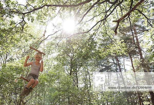 Glücklicher Junge auf Schaukel im Wald