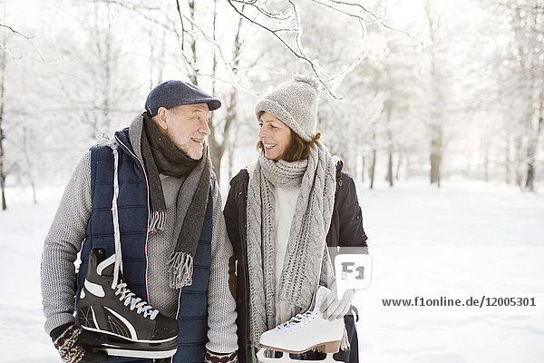 Senior couple with ice skates in winter landscape