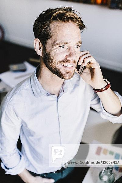 Porträt eines lächelnden Geschäftsmannes am Telefon