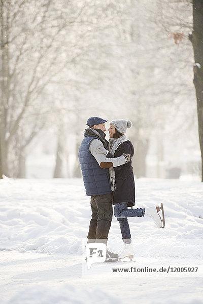 Seniorenpaar umarmt auf dem zugefrorenen See