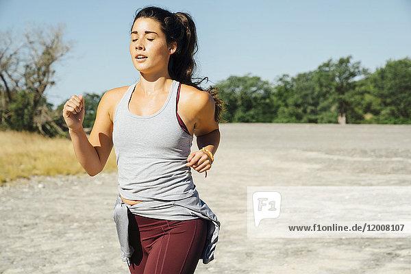 Caucasian woman running
