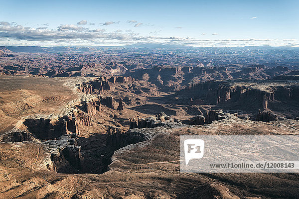 Aerial view of canyon  Moab  Utah  United States