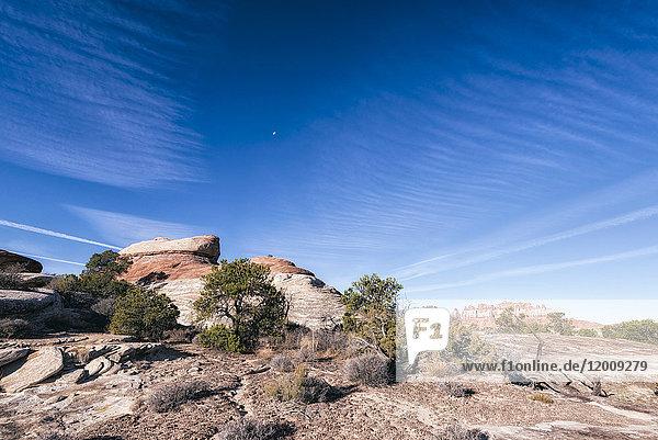 Blue sky over rocks in desert  Moab  Utah  United States