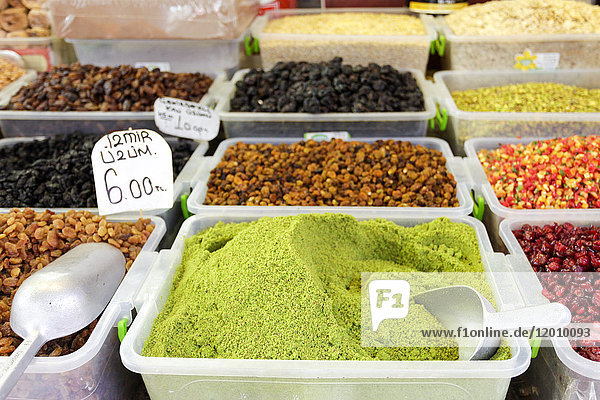 Bins of spices at market