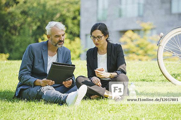 Seriöse Geschäftskollegen  die das Handy anschauen und diskutieren  während sie auf einer Wiese sitzen.