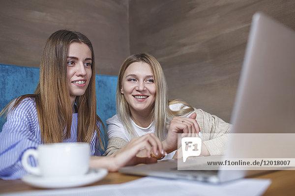 Junge Freundinnen beim Sitzen im Restaurant am Laptop