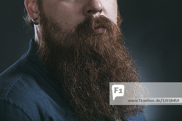 Mittelteil des Hipsters mit Bart vor grauem Hintergrund