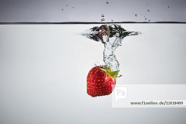Nahaufnahme von Erdbeeren in Spritzwasser