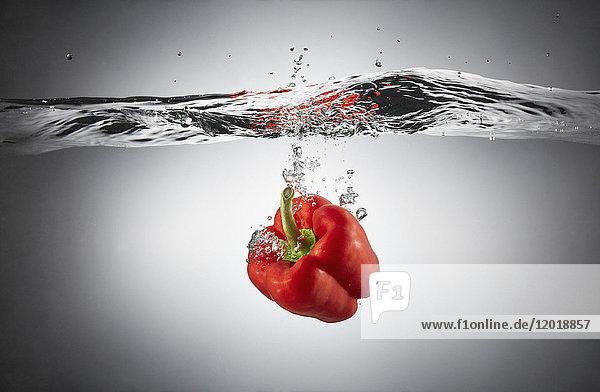 Nahaufnahme von roter Paprika in Spritzwasser