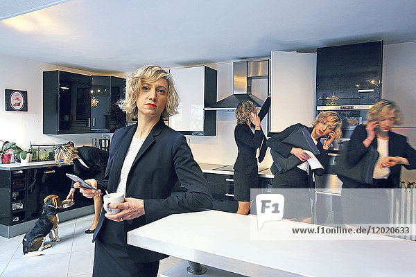 Photomontage illustrating the same woman doing several actions in her kitchen before leaving to work.