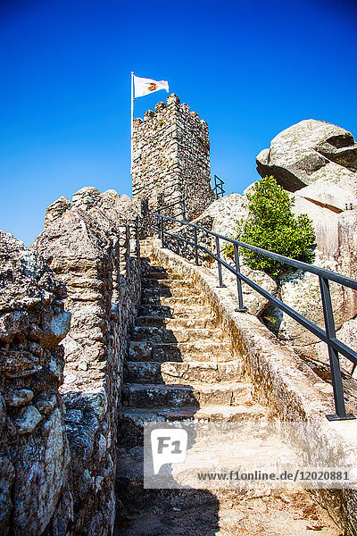 the wall of the Moorish Castle,  Sintra,  Lisbon area,  Portugal