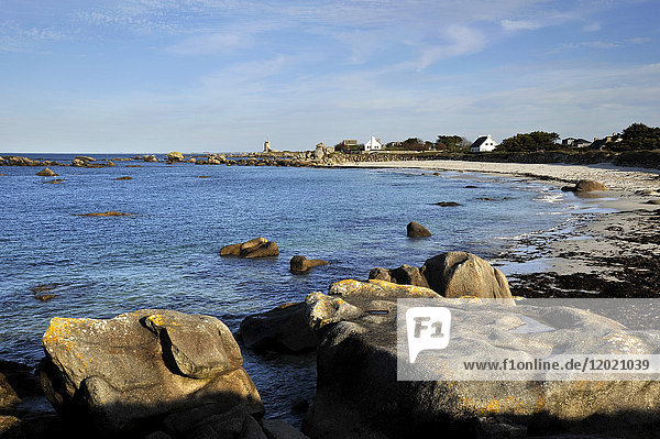 France  Brittany region  Finistere department  sea side at Brignogan-Plages city  beach and rocks.
