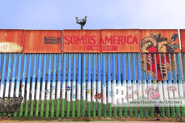 Mexico. Tijuana. Wall on thebeach between Tijuan and San Diego.