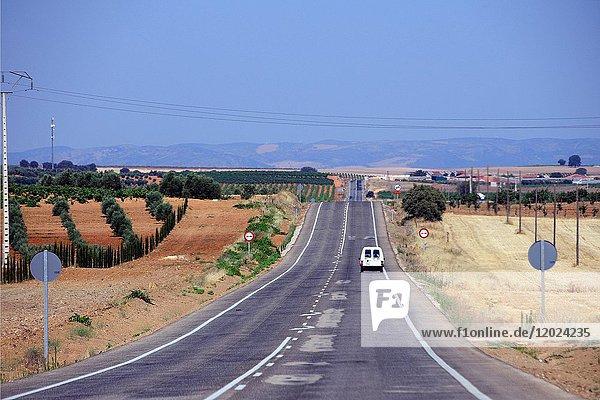 Countryside landscape of La-Mancha  road from Villanueva de los infantes to Valdepenas  Ciudad Real  Castile-La Mancha  Spain  Europe