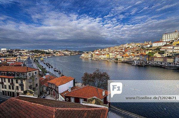 Aerial view from Vila Nova de Gaia city  Portugal. Porto city buildings on background.