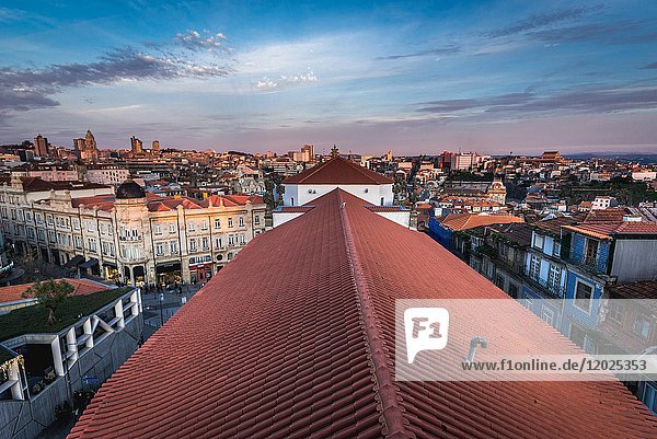 Aerial view from bell tower of Clerigos Church (Clergy Church - on photo) in Porto  second largest city in Portugal.