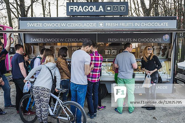 Fresh fruit chocolate for sale during Food Truck festival in Warsaw  Poland in 2017.
