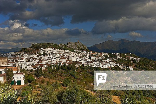 Panoramic view  Gaucin  Malaga province  Region of Andalusia  Spain  Europe.