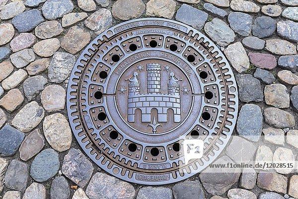 Runder Kanaldeckel,  Freiburg im Breisgau,  Baden-Württemberg,  Deutschland,  Europa