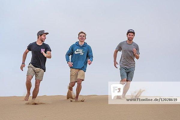 Drei junge Männer rennen Sanddüne herunter  Namibwüste  Namibia  Afrika