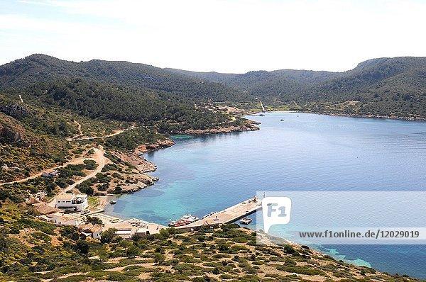 Cabrera Archipelago National Park  Natural harbor. Majorca  Balearic Islands  Spain.